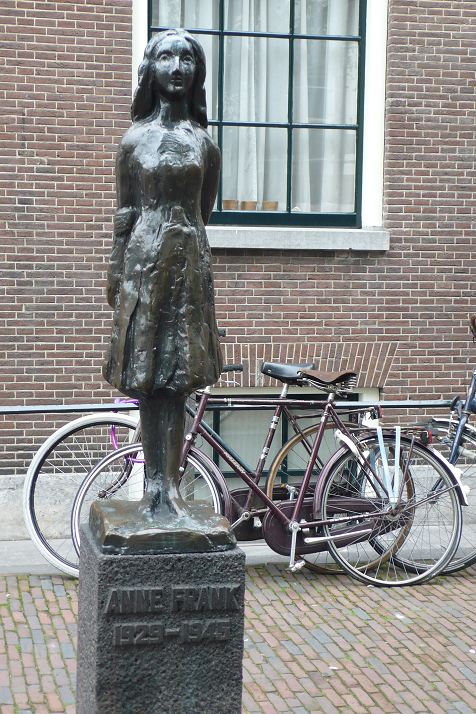 Statue of Anne Frank in the Westerkerk (Western Church) square next to the Anne Frank House.